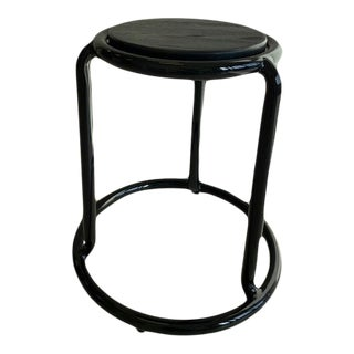 Black Aluminum and Wood Stool For Sale