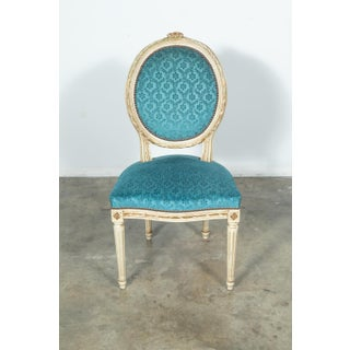 French Louis XVI Style Maison Jansen Parcel Gilt and Painted Dining Chairs- Set of 6 Preview