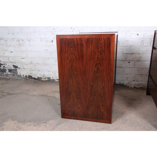 Danish Modern Rosewood Bachelor Chests or Large Nightstands, Newly Restored For Sale - Image 11 of 13