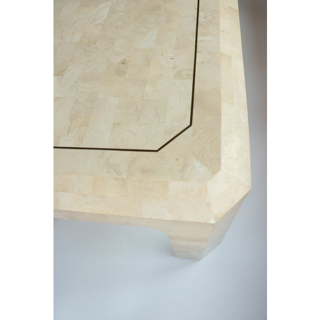 Brass Maitland-Smith Style Tessellated Coral Stone Coffee Table For Sale - Image 7 of 9