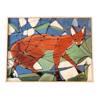 Philadelphia Illustrator Stephen Heigh Original Abstract Painting Fox