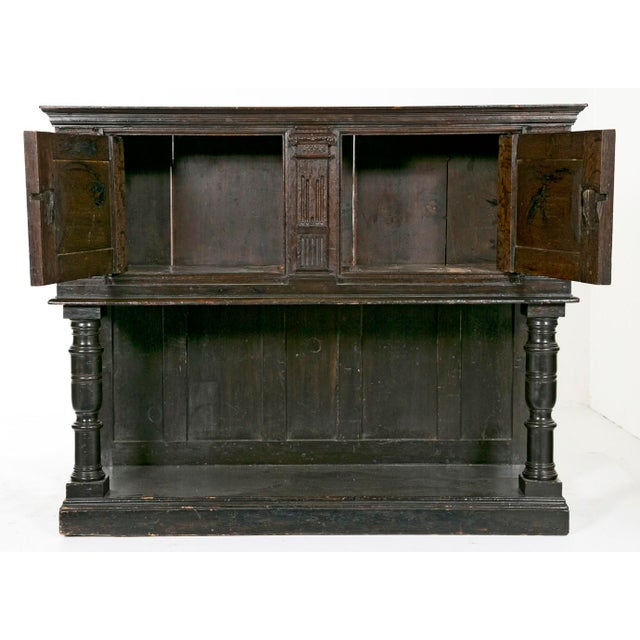 Early 19th Century 19th Century English Elizabethan Style Dark Stain Oak Cupboard For Sale - Image 5 of 6