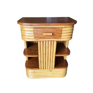 Paul Frankl Inspired Stacked Rattan Side Table With Floating Shelf For Sale