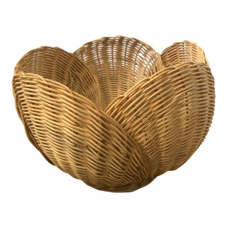 Floriform Structural Natural Woven Wicker Basket Bowl For Sale