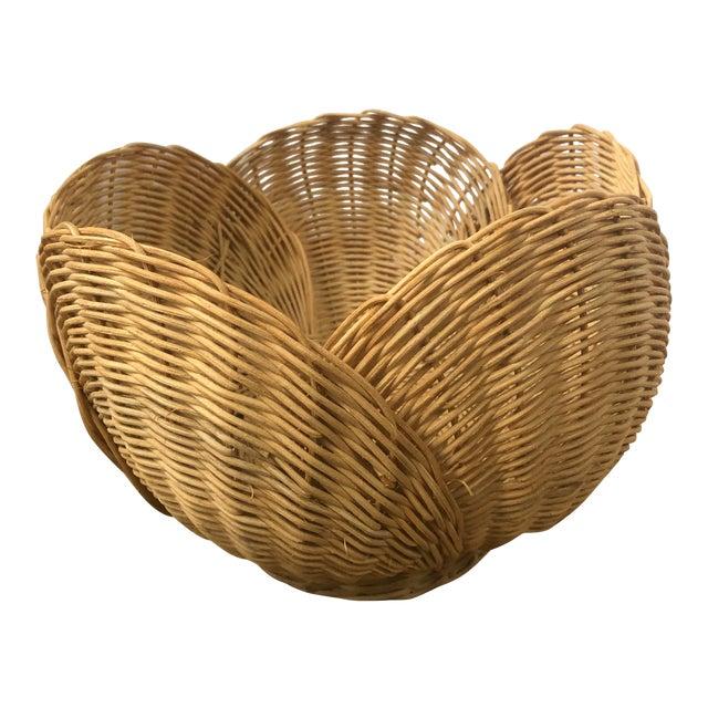 Floriform Structural Natural Woven Wicker Basket Bowl For Sale