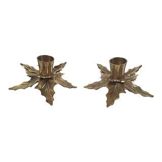 Brass Mistletoe Candleholders, Pair For Sale