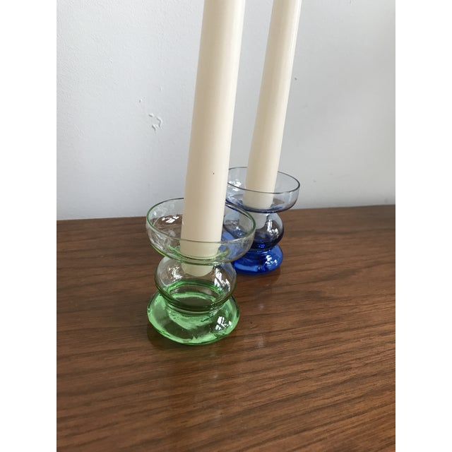 Mid Century Glass Candle Stick Holders - a Pair - Image 4 of 7