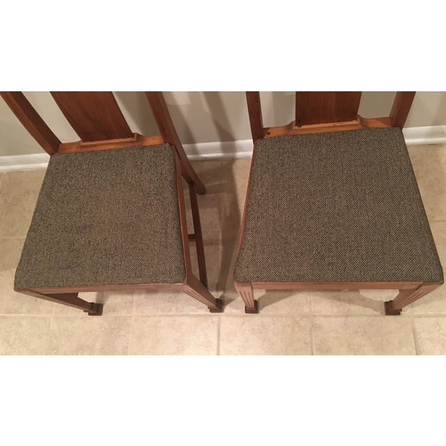 Mission Arts & Crafts Craftsman Wood Chairs With Canvas Seats - Set of 2 For Sale - Image 9 of 11