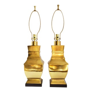 Hollywood Regency Paul Hanson Brass Lamps - a Pair For Sale
