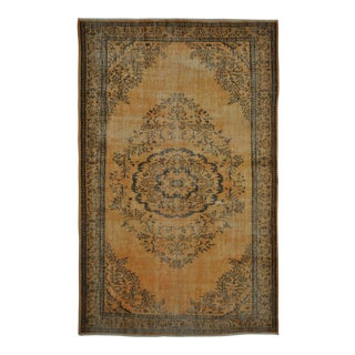 "Vintage Turkish Isparta Distressed Over-Dye Area Rug - 6' X 9'6"" For Sale"