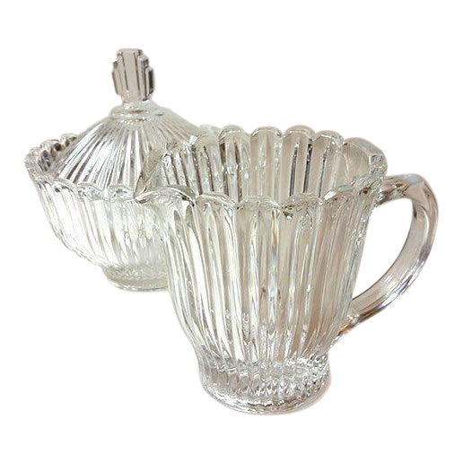 Cut Glass Creamer and Sugar - A Pair - Image 1 of 5