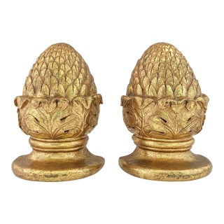 Gilt Pinecone Bookends For Sale