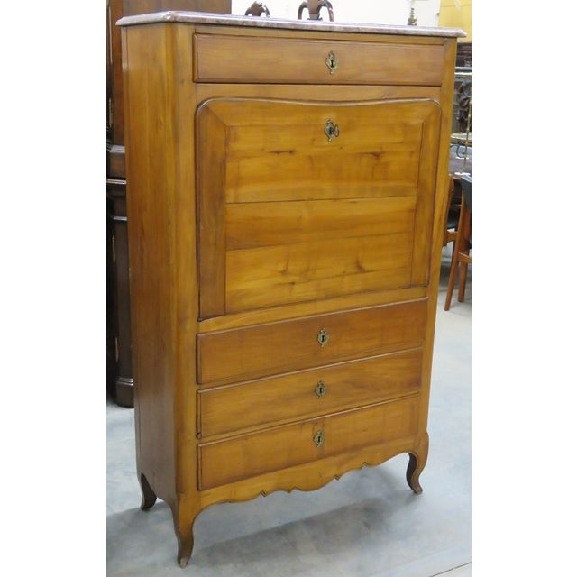 French-Style Marbletop Abbatant Desk - Image 2 of 6