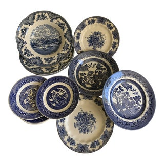 Blue and White Midcentury English Plates & Bowls For Sale