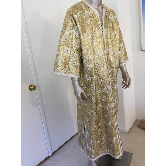 Elegant Moroccan gentleman luxury couture vintage caftan hand crafted in gold brocade fabric. Moroccan Caftan in Silver...