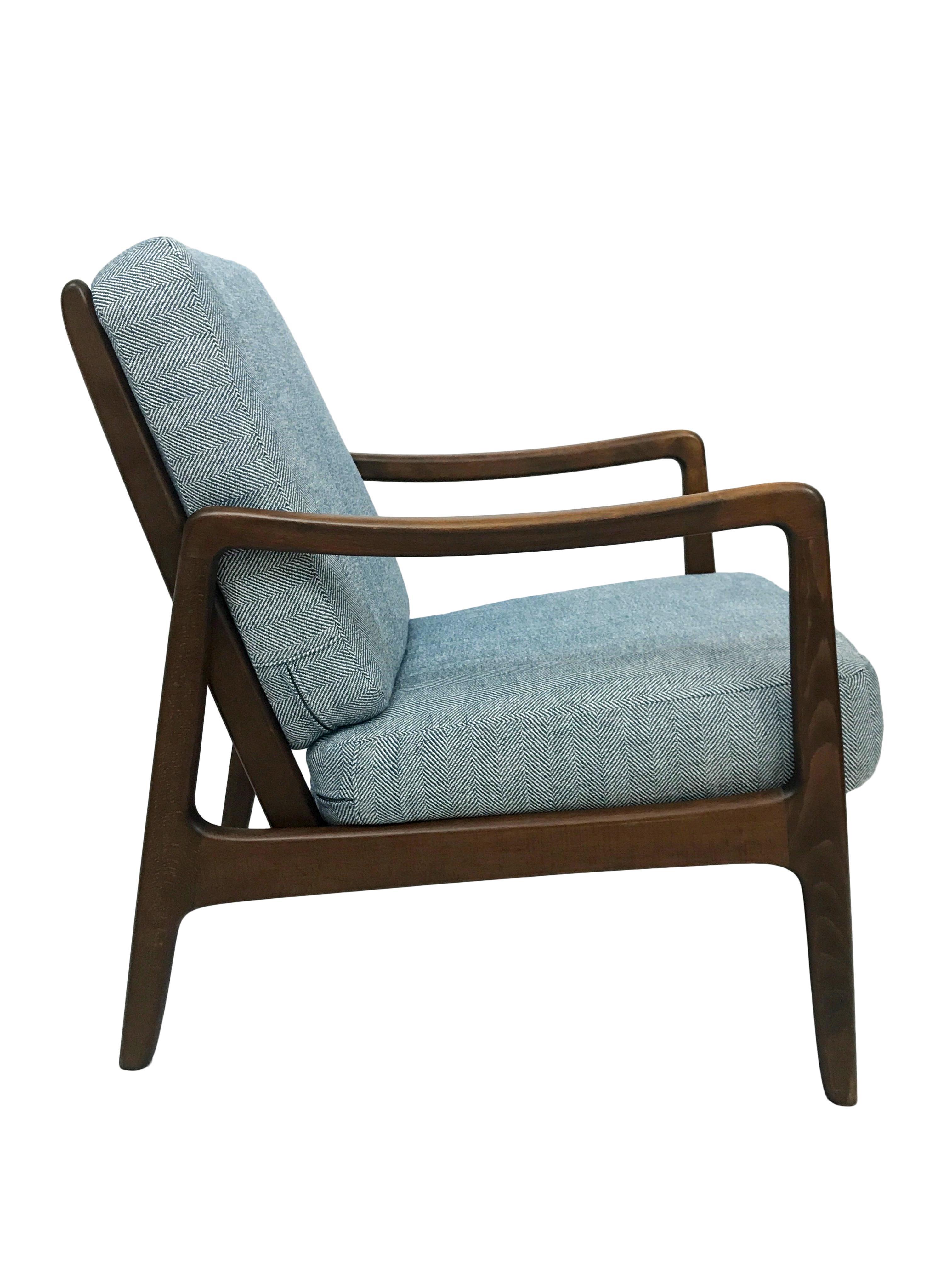 Danish Modern France U0026 Daverkosen Mid Century Herringbone Lounge Chair By  Ole Wanscher Model 109 For