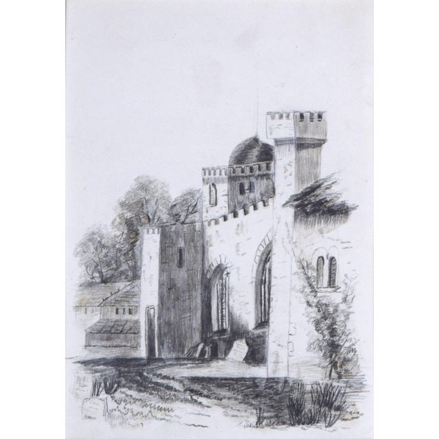 Gothic 19th Century Antique English Graphite Castle Drawing For Sale - Image 3 of 7