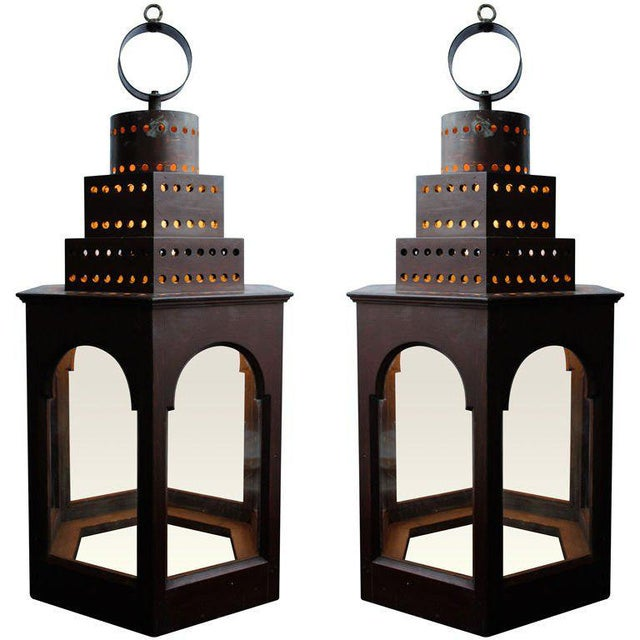 Red Wooden Lanterns - A Pair For Sale - Image 11 of 11
