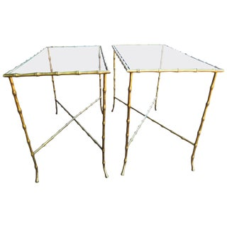 Pair of Brass Faux Bamboo Side Tables Baguès Style For Sale
