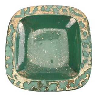 Green Vintage Westwood Ware Dish or Ashtray With 24 Kt Metallic Gold For Sale