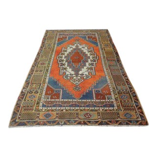 1960s Vintage Turkish Oushak Hand-Knotted Rug - 4′7″ × 7′11″ For Sale