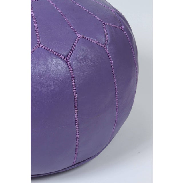 Islamic Hand-Tooled Moroccan Lavender Color Leather Pouf For Sale - Image 3 of 5