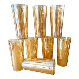 Midcentury Set of Eight Carnival Glass Tumblers For Sale