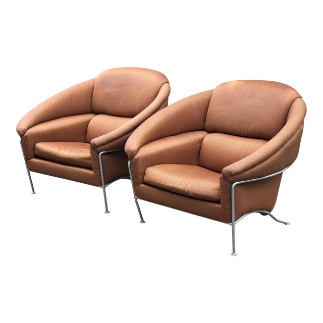 1980s Vintage Milo Baughman for Thayer Coggin Boldido Lounge Chairs - a Pair For Sale