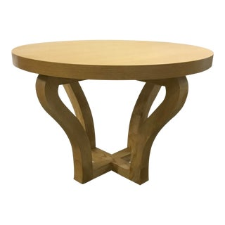 Modern Round Oak Finished Wood Center Table/Dining Table For Sale