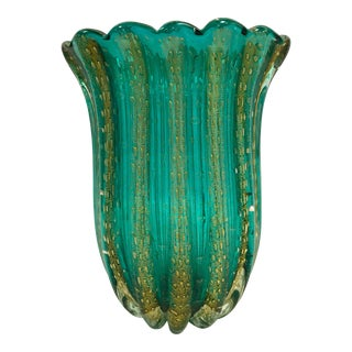 Murano Glass Emerald and Gold Vase by Barovier & Toso For Sale