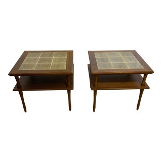 Mid-Century Modern Teak and Porcelain Side Tables a Pair For Sale