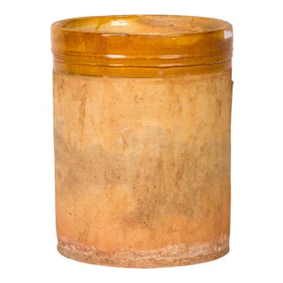 Early 20th Century Yellow Banded Clay Pot For Sale