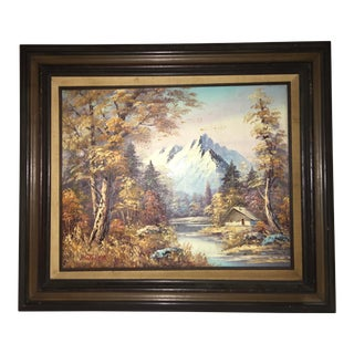 Vintage Mitchell Oil Illustration on Canvas of Landscape For Sale
