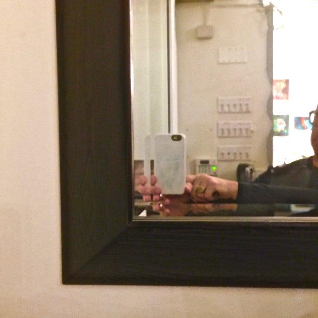 Modern Large Beveled Dark Wood Frame Mirror - Image 4 of 6