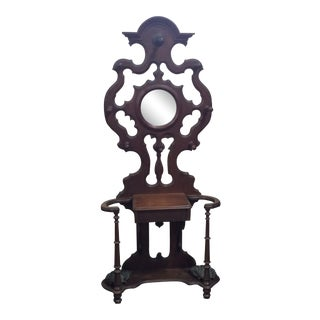 1870s Victorian Black Walnut Hall Tree For Sale