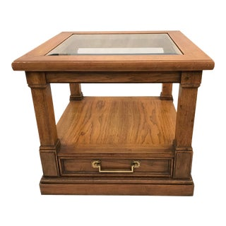 Midcentury Thomasville End Table With Glass Top For Sale