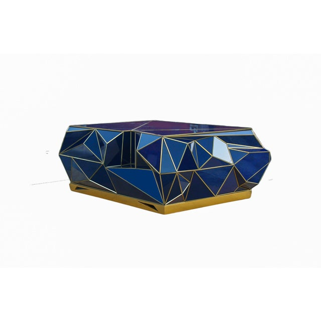 Modern Ploytope Coffee Table in Cobalt by MarGian Studio For Sale - Image 3 of 10