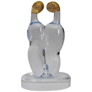 "1980s Isaac ""Embracing Figures"" Artisan Glass Sculpture For Sale"