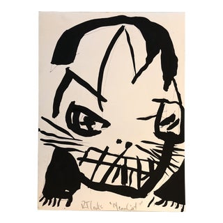 "Vintage Original Robert Cooke Painting ""Mean Cat"" For Sale"