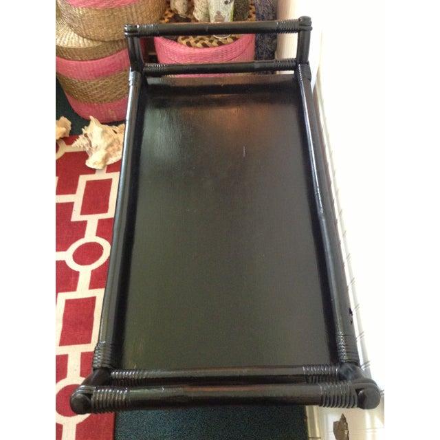 Black Rattan Bar Cart Server For Sale - Image 5 of 7