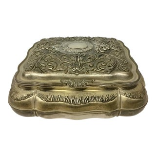 1930s Vintage Silver Plate Jewelry Box For Sale