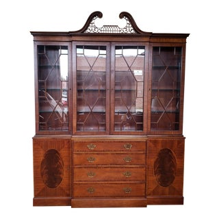 Large Banded & Inlaid Mahogany Baker Furniture Dining Room Breakfront China Cabinet C1990s For Sale