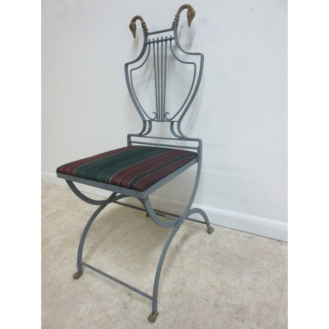 Hollywood Regency Vintage Lyre Harp Regency Side Chair For Sale - Image 3 of 11