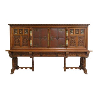 Antique Tiger Oak German Gothic Revival Cabinet For Sale