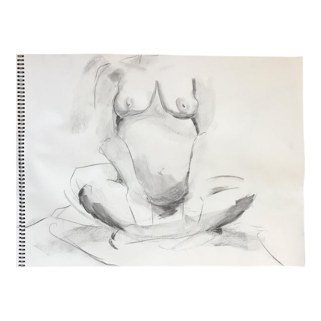 Seated Pregnant Nude Drawing For Sale
