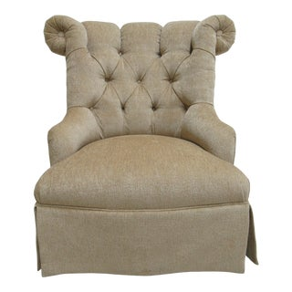 1990s Vintage Quality Custom Chesterfield Boudoir Lounge Slipper Chair For Sale