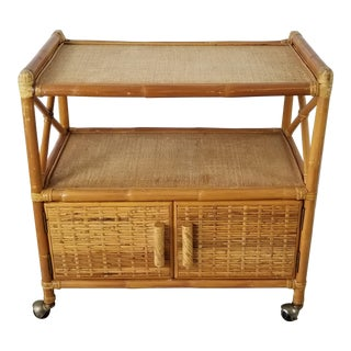 Vintage Two Tier Rolling Bar Cart For Sale