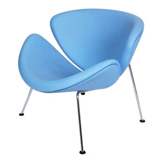 Pierre Paulin Sky Blue Leather Orange Slice Chair For Sale