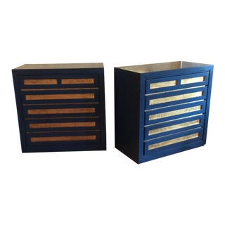 1990s Boho Chic Fairfield Blue & Gilt Chests - a Pair For Sale