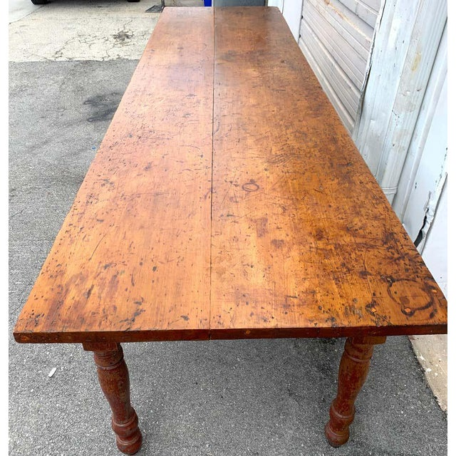 Late 19th Century Southern Red Paint and Chestnut Farm Table For Sale - Image 10 of 13